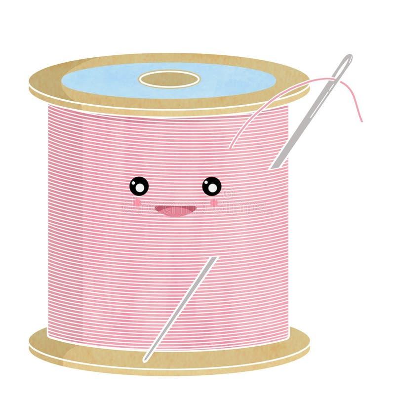 Fil et aiguille de bobine de coton images libres de droits