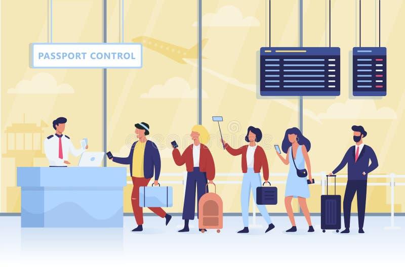 Fila ao controle de passaporte no aeroporto ilustração royalty free