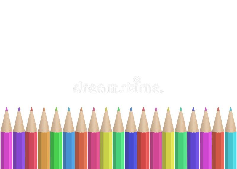 fila coloreada inconsútil de los lápices imagen de archivo