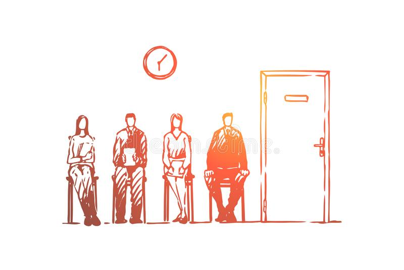 Fila da entrevista de trabalho, homens e mulheres na roupa formal que senta-se no corredor, pessoa que espera no corredor ilustração stock