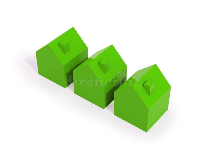 Fila de casas verdes stock de ilustración