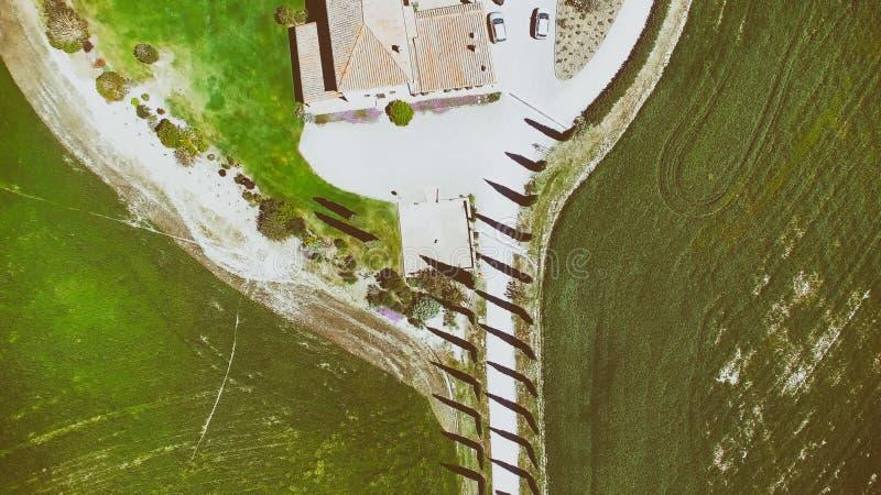 Fila de cipreses en un campo hermoso de Toscana durante sprin fotos de archivo libres de regalías