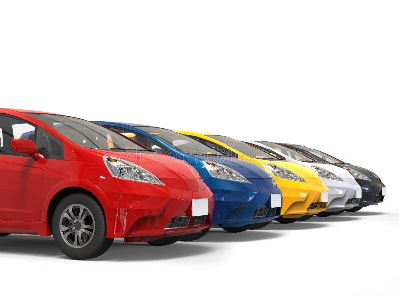 Fila de coches eléctricos compactos modernos multicolores ilustración del vector