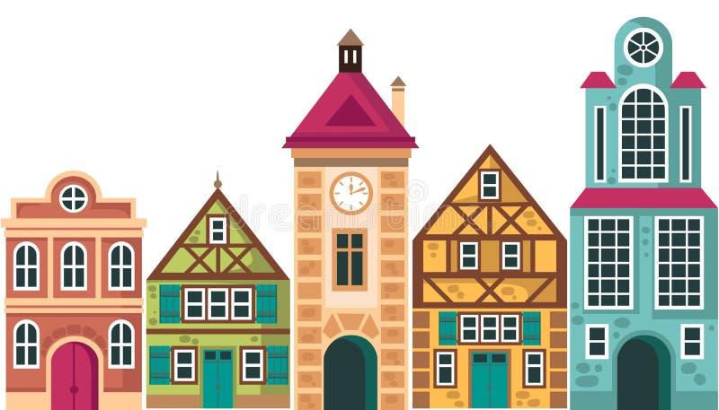 Fila de diversas casas Casas, edificios de la cabaña, ejemplo de la historieta del vector, diseño exterior, fachada, vista delant stock de ilustración