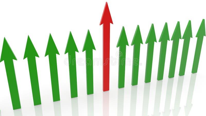Fila de flechas en colores verdes y rojos en blanco stock de ilustración