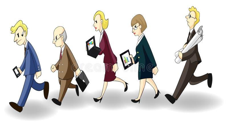 Fila de hombres de negocios y de mujeres ocupados libre illustration