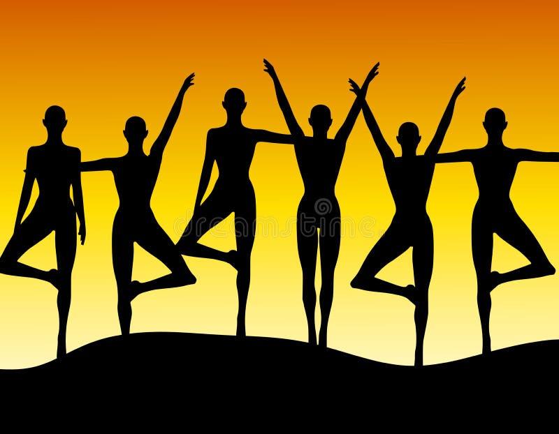 Fila de la aptitud de la yoga de mujeres ilustración del vector