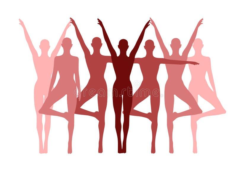 Fila de la aptitud de la yoga de mujeres en color de rosa stock de ilustración