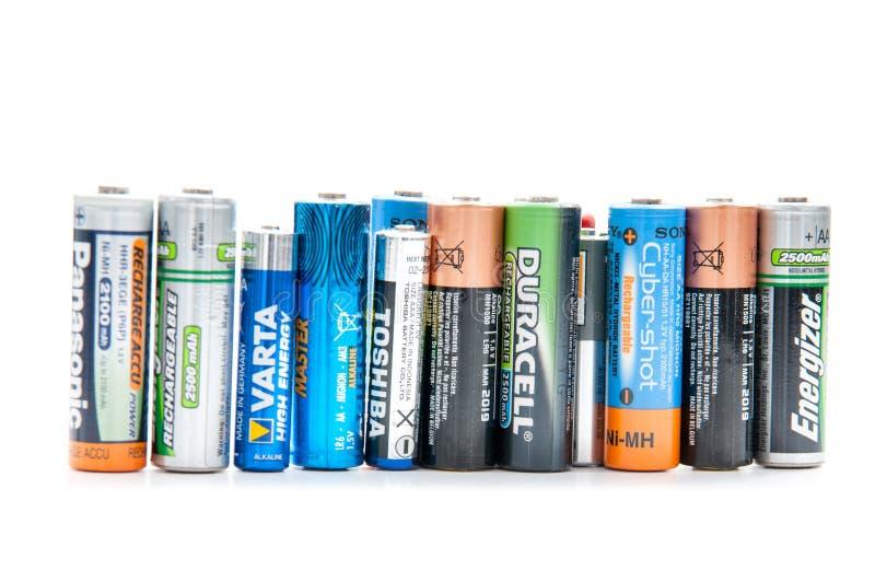 Fila de las baterías foto de archivo libre de regalías