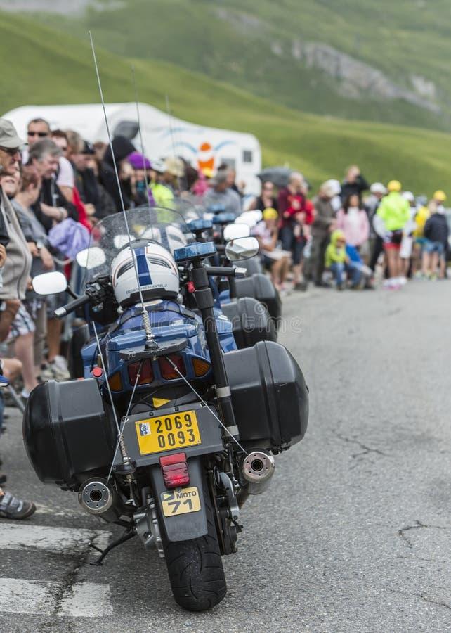 Fila de las bicis de la policía - Tour de France 2017 fotos de archivo libres de regalías