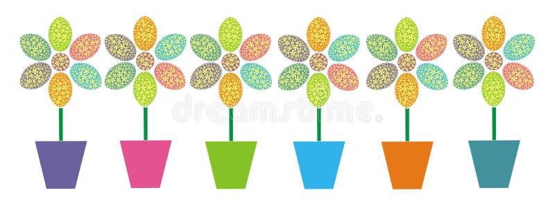 Fila de las flores de pascua ilustración del vector