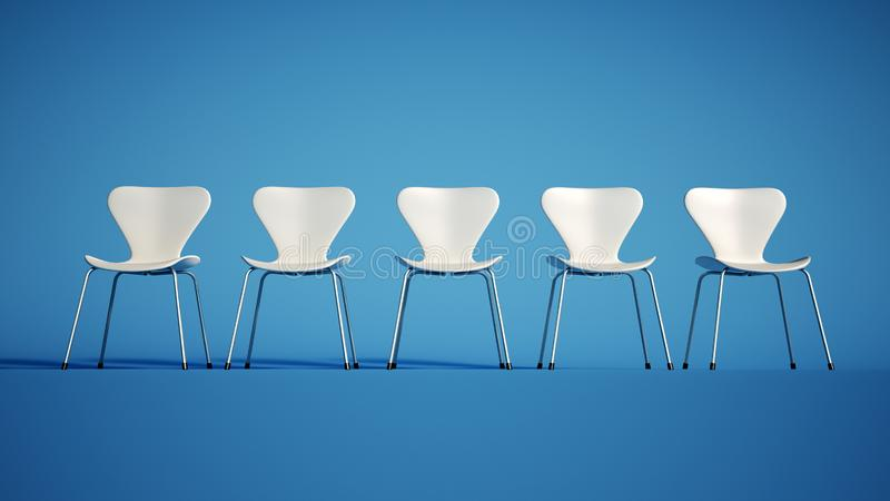 Fila de las sillas blancas ilustración del vector