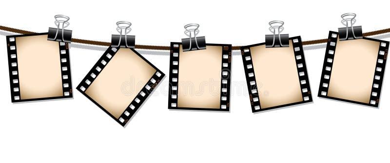 Fila de las tiras de la película de la sepia stock de ilustración