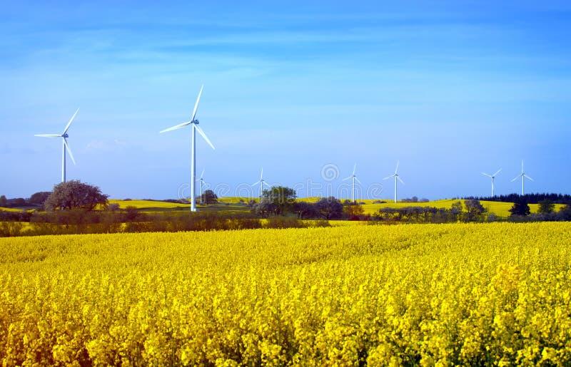 Fila de las turbinas de viento en Suecia imágenes de archivo libres de regalías