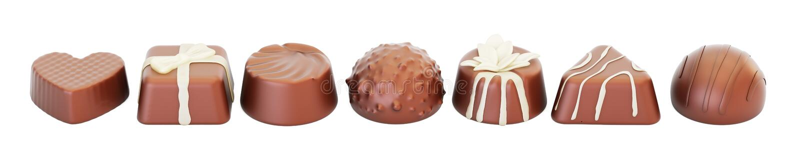 Fila de los caramelos de chocolate, representación 3D libre illustration