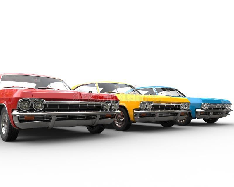 Fila de los coches clásicos del músculo - tiro del estudio ilustración del vector