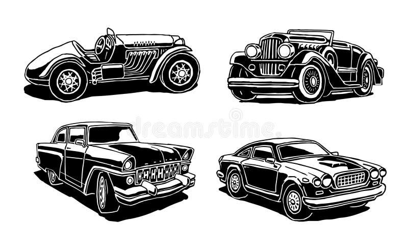Fila de los coches retros ilustración del vector