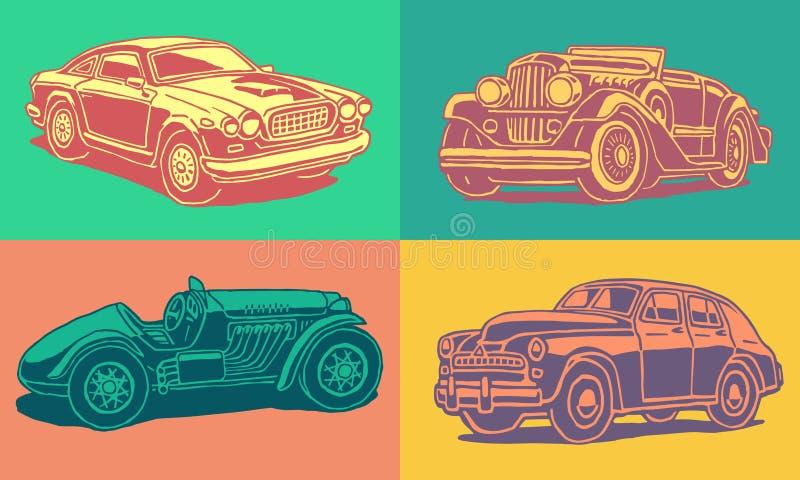 Fila de los coches retros fotos de archivo