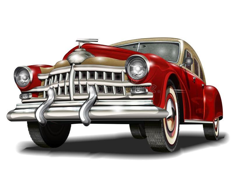Fila de los coches retros stock de ilustración