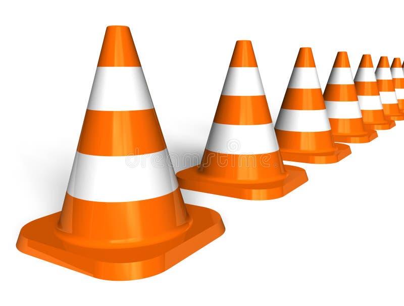 Fila de los conos del tráfico stock de ilustración