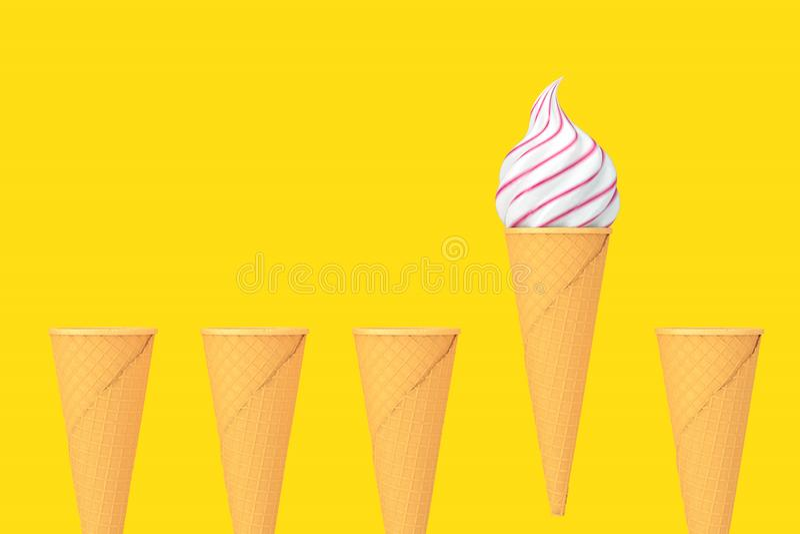 Fila de los conos de helado curruscantes de la galleta vacía y de un cono con helado suave del servicio representación 3d ilustración del vector