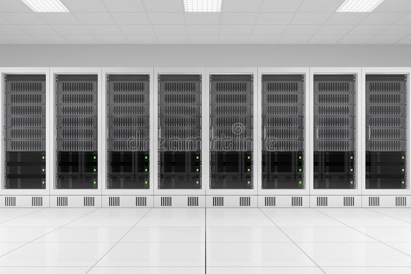 Fila de los estantes de los datos en sitio del servidor stock de ilustración