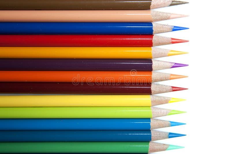 Fila de los lápices del color imagen de archivo