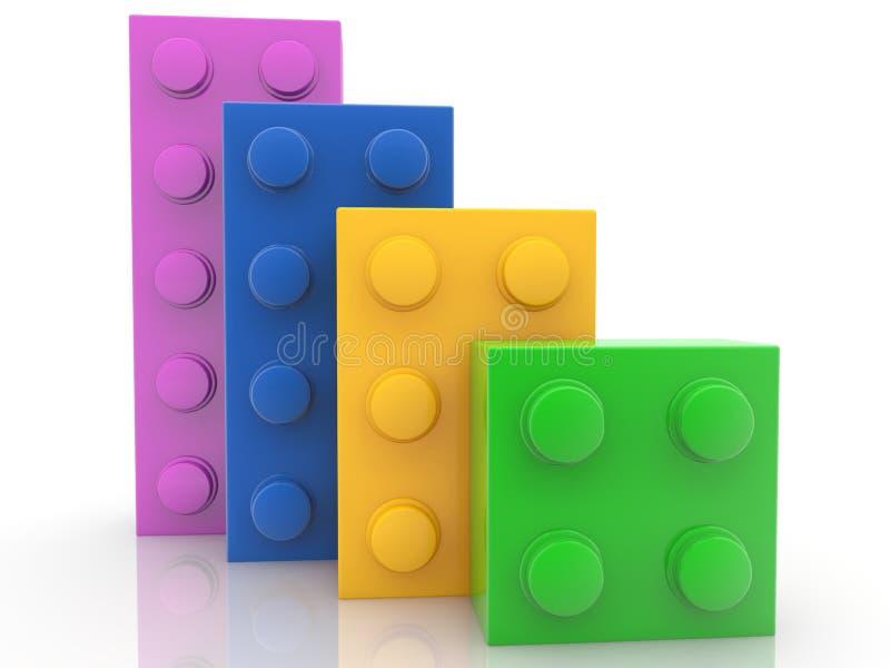 Fila de los ladrillos coloridos del juguete en blanco stock de ilustración