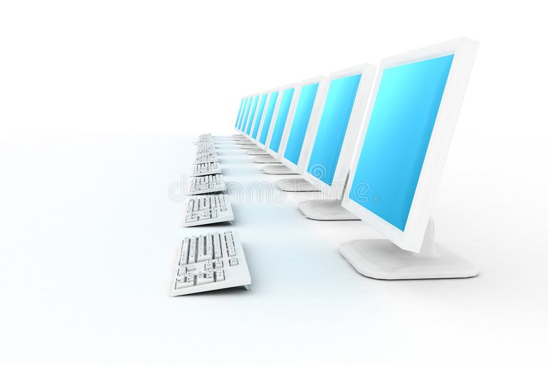 fila de los ordenadores blancos con b stock de ilustración