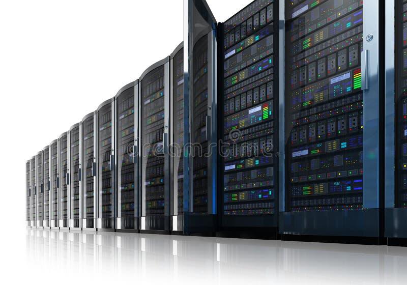 Fila de los servidores de red en centro de datos stock de ilustración