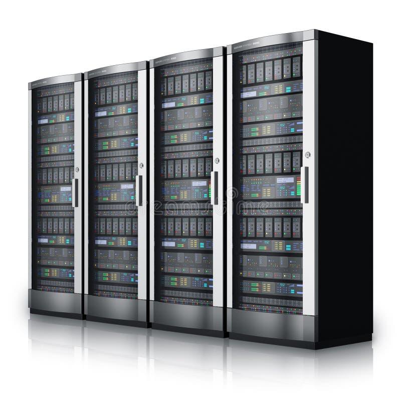Fila de los servidores de red en centro de datos ilustración del vector