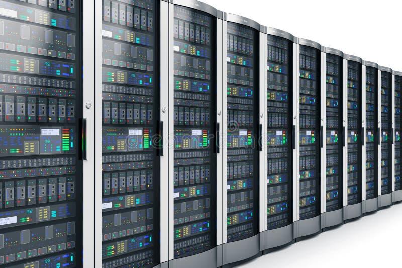 Fila de los servidores de red en centro de datos libre illustration