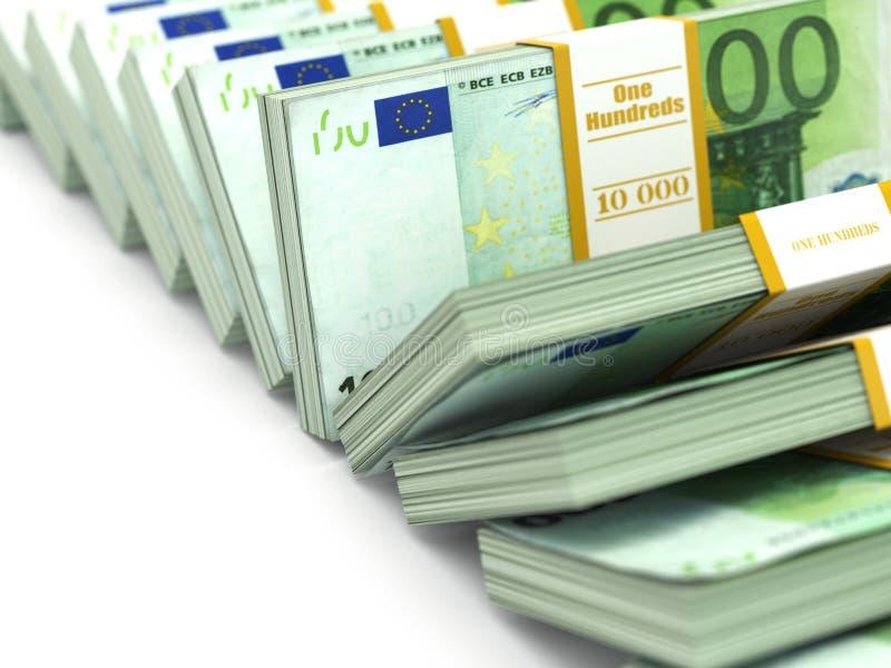 Fila de paquetes de euro. Porciones de dinero del efectivo. ilustración del vector