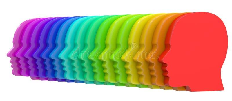 Fila de perfiles humanos coloridos stock de ilustración
