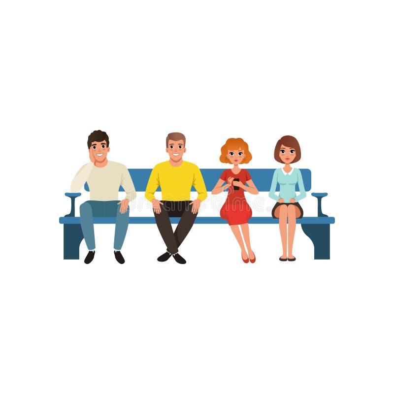 Fila de quatro povos que sentam-se no banco azul Personagem de banda desenhada de homens novos e de mulheres Projeto liso colorid ilustração do vetor