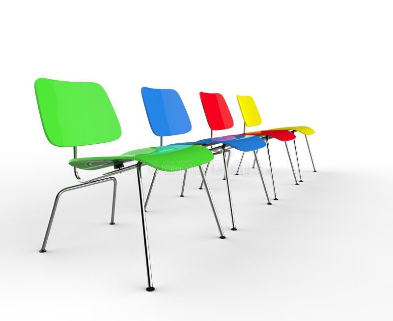 Fila de sillas coloridas stock de ilustración