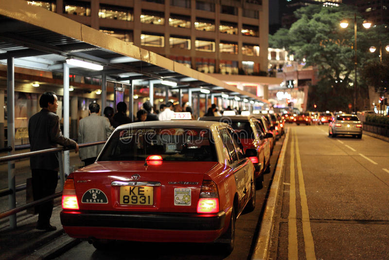 Fila de taxi en Hong Kong foto de archivo libre de regalías