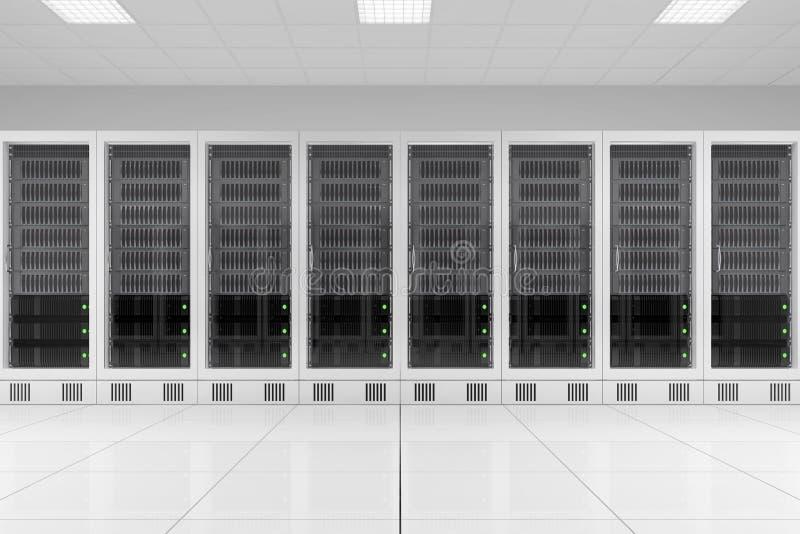 Fila degli scaffali di dati nella stanza del server illustrazione di stock