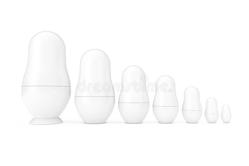Fila dei modelli bianchi delle bambole di incastramento di Matryoshka dello spazio in bianco russo in Clay Style rappresentazione royalty illustrazione gratis