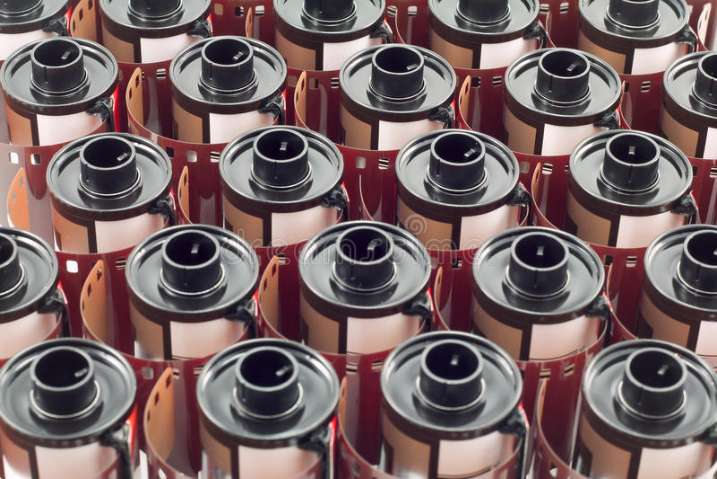 Fila dei rotoli di film di millimetro immagine stock