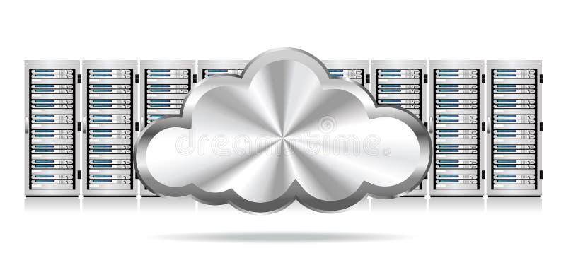 Fila dei server di rete con la nuvola illustrazione di stock