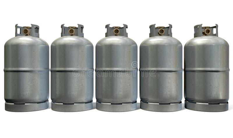 Fila del cilindro de gas foto de archivo libre de regalías