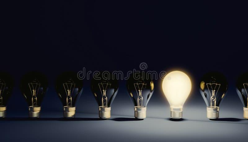 Fila del commutato di fuori dalle lampadine con una accesa sopra e brillante Concetti di idea, di direzione o di creatività illus illustrazione vettoriale