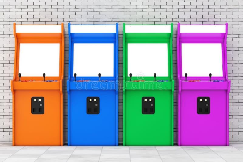 Fila del juego multicolor Arcade Machines con la pantalla en blanco para ilustración del vector