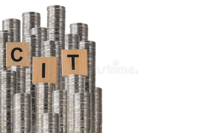 Fila del lado del CIT de monedas ilustración del vector