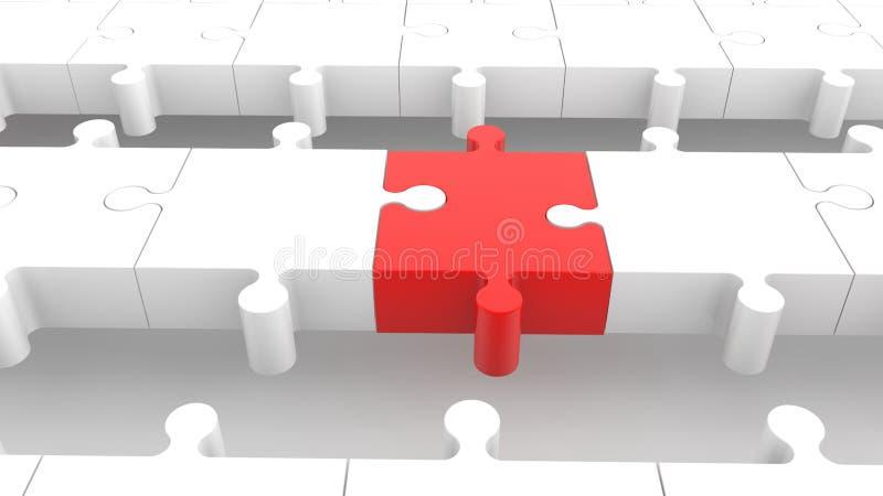 Fila del rompecabezas en cierre rojo y blanco para arriba stock de ilustración