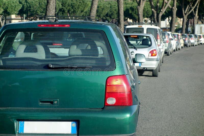 Fila della città delle automobili dell'automobile dell'ingorgo stradale fotografie stock libere da diritti