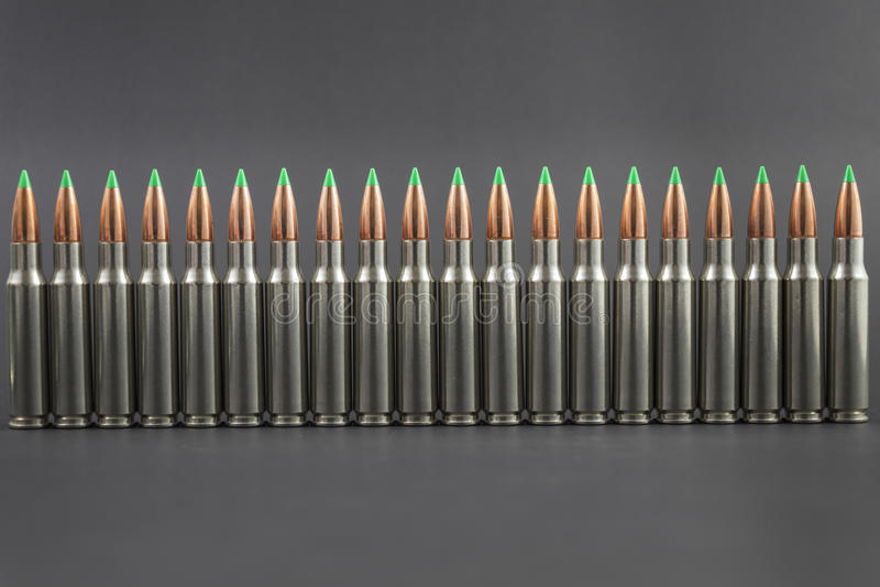 Fila della fila delle munizioni del fucile immagini stock libere da diritti