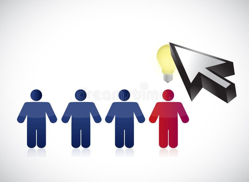 Fila della gente e progettazione dell'illustrazione del cursore illustrazione vettoriale