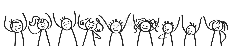 Fila della gente incoraggiante del bastone, dell'insegna, dei bambini felici, degli uomini e delle donne, figure in bianco e nero illustrazione di stock